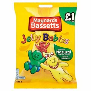 Full Box of 12 Bags 165g Maynards Bassetts Jelly Babies Tracked Delivery