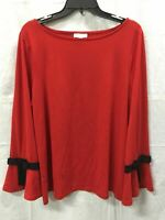 CHARTER CLUB Knit Solid Bow Top Medium Red XL