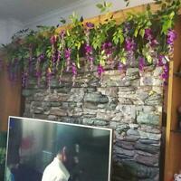 Flower String Artificial Wisteria Vine Garland Plants Foliage Wall Home Dec P2G4