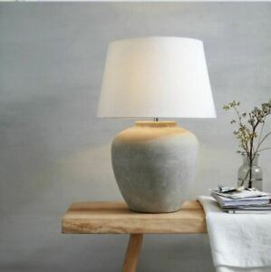 NEW The White Company Southwold Ceramic Table Lamp Stone/White Shade RRP £175 ~+