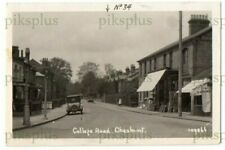 More details for old postcard college road cheshunt herts note shops real photo vintage 1920s
