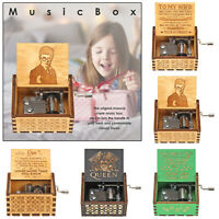 Hand Cranked Music Box Retro Carved Wood Manual Kids Birthday Gift Home Ornament