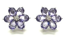 Sterling Silver Pear Faceted Purple Amethyst Flower CZ Accent Stud Post Earrings