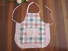 Chic Gingham Patch Crochet Lace Pocket Frill Kid Cotton Apron