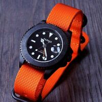 Parnis 40mm GMT Function PVD Automatic men's watch sapphire glass Nylon Strap