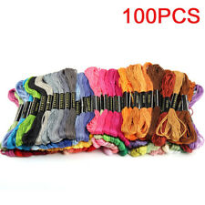100x Cotton Mixed SKEINS COLOURED EMBROIDERY THREAD Cross Braiding Craft Sewing