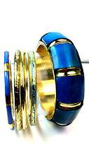 TURQOUISE BLUE AND GOLD MULTI BRACELET BANGLE SET