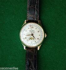 Leonidas triple calendar seltene Armbanduhr Herren Gold Vintage watch