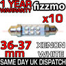 10x 36mm NUMBER PLATE INTERIOR LIGHT FESTOON BULB 4 LED XENON WHITE 239 272 C5W