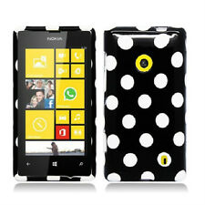 For Nokia Lumia 521 HARD Case Snap On Phone Cover Accessory Black Polka Dots