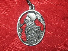 Pewter Silver Tone Oval Southwest Howling Wolf Moon Pendant Charm Necklace