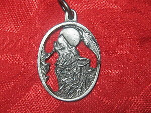 23MM Pewter Silver Tone Gray Wolf Moon Diamond Cut Pendant Charm Necklace