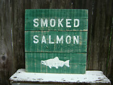 16 INCH WOOD CEDAR HAND PAINTED SMOKED SALMON SIGN NAUTICAL MARITIME (#S173)