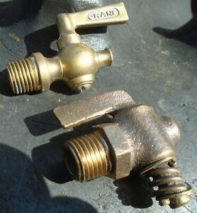 Vintage Brass Crane & Brass Shut Off Valves (2) Hit & Miss Engines Tractor