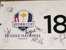 2018 TIGER SPIETH DJ THOMAS PHIL BUBBA RYDER CUP TEAM USA PIN FLAG SIGNED PSA!