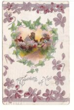 Thoughts Of You, Flowers, Rural Scene, Antique 1913 Embossed Greetings Postcard