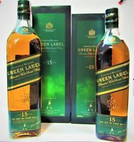 1+1 Whisky JOHNNIE WALKER ♦ GREEN LABEL ♦ Aged 15 Years ♦ 1L. + 70cl, 43º & BOX