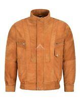 Men's Real Leather Jacket Blouson Bomber Tan Buff Classic Gents Jacket 303
