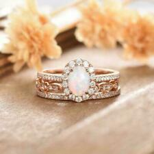 2.5CT Oval Cut Fire Opal & Diamond Halo 14k Rose Gold Over Wedding Trio Ring Set