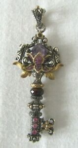 Barbara Bixby Sterling/18K Zen Garden Multi-Gemstone He Key Pendant