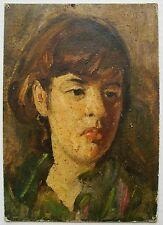Russian Ukrainian Soviet Oil Painting female portrait Girl realism 1960s