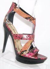Michael Antonio red snake print strappy sandal rear zip platforms heels 7.5