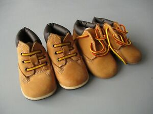 2 X BABY TIMBERLAND BOOTS BOOTIES (0.5 & 1.5) LIGHT USE TRAINERS INFANTS LACE-UP