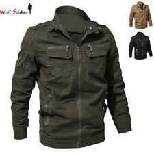 Fashion Mens Bomber Jacket Pilot Biker Motorcycle Jackets Zipper Pockets Coats