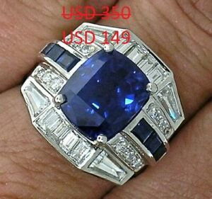 9.65 Ct Sapphire and Vivid White Sapphire 925 Sterling Silver Men's Wedding Ring