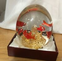 XL Glass Aquarium Paperweight.   Goldfish With Gold Flecks. Beautiful!!! HEAVY!