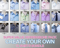 Mens Business Shirts Formal Herringbone Egyptian Cotton Luxury Sydney Boss Dress