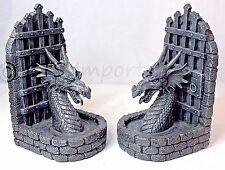Collectible Gray Guardian Dragon Statue Bookends On Dungeon Wall Fantasy 75148