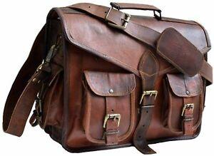 Mens echte Vintage Ledertasche Messenger gepolstert Laptop Aktentasche Tasche