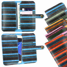 Vintage Stripes PU Leather Wallet Case Cover Sleeve Holder Fits BenQ Phones