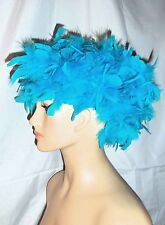 Turquoise All Feathers Headpiece Wig or Hat Burlesque Showgirl Unisex