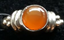 Sterling Silver Orange Enamel Ring Size M