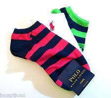 3 Pr Ralph Lauren Ladies Socks Sport Golf Low Cut Rugby Stripe Multi - NEW