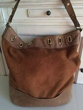 Arezzo Italy Distressed Brown Leather Large Hobo Purse Handbag