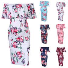 9e527c5844561 Maternity Pregnant Floral Ruffle Off Shoulder Bodycon Stretch Pencil Short  Dress