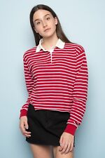 New! brandy melville White/Red Stripe collared 1/4 button up Polo jonny top NWT