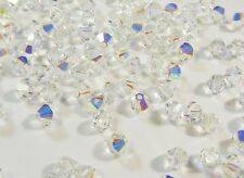 40 CRYSTAL AB 4mm SWAROVSKI KRISTALL PERLEN 5301 5328 DOPPELKEGEL NEW BEADS