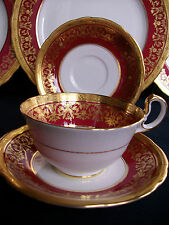 AYNSLEY KENILWORTH RED #7023 (1930's)- CUP & SAUCER (s)- ENCRUSTED GILT! RARE!