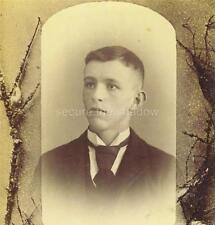 CABINET CARD PHOTO: Post Mortem MEMORIAL Handsome YOUNG MAN in dark JACKET & TIE