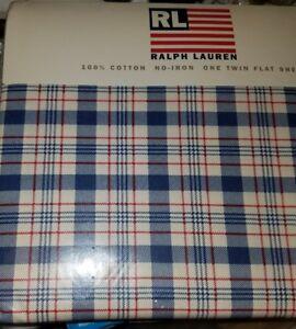 New Ralph Lauren RLL Lauren Red Blue Oakley Twin Flat Sheet