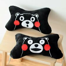 2pcs Kumamon black fuzzy plush bone pillow cushion car neck cushions pillows