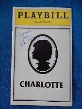 Charlotte - Belasco Theatre Playbill w/Autograph - February 1980 - Uta Hagen