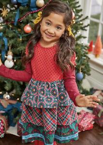 Matilda Jane JOLLY HOLIDAY Dress 6 Tiered Plaid Wreaths Christmas Girls