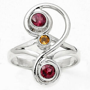 Natural Hessonite Garnet and Citrine 925 Sterling Silver Ring s.8 Jewelry E107