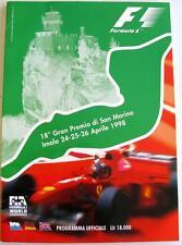 San Marino GRAND PRIX UFFICIALE MOTOR RACING programma APR 1998 ITA/GER/ENG