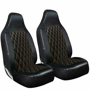 FORD TRANSIT CONNECT - DELUXE BLACK QUILTED DIAMOND LEATHER CAR SEAT COVERS 1+1